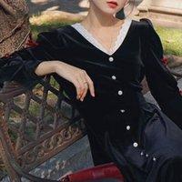 Casual Dresses 2021 Autumn Vintage Black Velvet Dress Women Long Sleeve Y2k Midi Evening Party Korean Fashion Bow Elegant Female