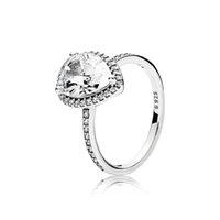 2020 실제 925 스털링 실버 눈물 드롭 CZ 다이아몬드 반지 로고와 원래 상자 맞는 판도라 결혼 반지 약혼 보석 여성을위한