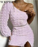Повседневные платья Wepbel осень пэчворк сплошной цвет сексуальное вне плеча платье женщин элегантный слоеный рукав с высокой талией шеи слизет нерегулярный