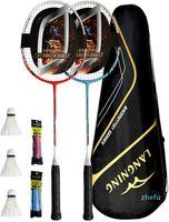 Raquettes de Badminton Set 2 Formation à domicile légère en fibre de carbone