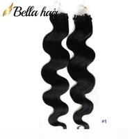 """Brasilianische Jungfrau-Haarschleife-Mikro-Ring-Haarverlängerungen Körperwelle 20 """"24"""" # 1 # 2 # 4 und blonde Schleife Haarschuss 1g Strang"""