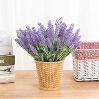 Fleurs décoratives Couronnes Romantique Provence Mousse de lavande Fleur artificielle Faux de Noël Faux Plantes Silk Flores Mariage Mariage Maison Jardin Table A