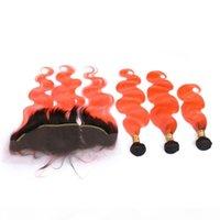 Black and Orange Ombre Virgin Brésilien Cheveux Humains Humains avec vague de corps frontale # 1B Orange Ombre 13x4 Dentelle Fermeture frontale avec 3 paquets