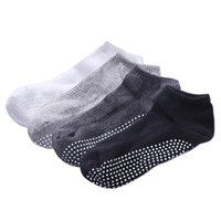 Sports Socks 4 Pairs Men Cotton Non-slip Yoga With Grips Breathable Anti Skid Low Cut For Gym Fitness Ballet Pilates