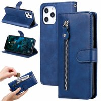 For iPhone 13 Card Pocket mobile phone case Wallet Leather Cases fashion zipper Flip Stand bag Cover ip 12 11 XS Max XR 6 7 8 Plus