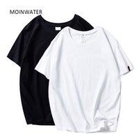 Moinwater novas mulheres camisetas 2 peças / pacote Sólido casual 100% algodão confortável camisetas senhora Tees Tops de manga curta 210304