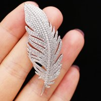 Pins, Brooches White Crystal Large Feather For Women Rhinestone Wedding Bouquet Jewelry Beautiful Pins Gift Broche Femme Bijoux De Lux