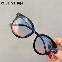 Oulylan Kids Round Lunettes de soleil Filles Garçons Marque Designer Gradient Sun Lunettes Sunglass Sunglass Shades UV400 Noir