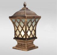 LED outdoor post lamps bronze antique black gridding wall light waterproof door top bollard lamp