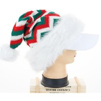 Christmas Decorations Knitted Long Fringed Hat Red And Green Santa Plush Year Adult Child Hats