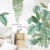 Wall Stickers Green Leaves For Bedroom Living Room Dining Kitchen Kids DIY Decals Door Murals Home Decor