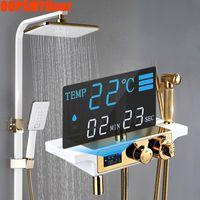 디지털 샤워 시스템 욕실 스마트 온도 조절 샤워 세트 벽 마운트 스파 강우량 욕조 LED 가벼운 광장 Ducha Chuveiro