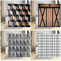 Shower Curtains Retro Geometric Curtain Stone Brick Wall Pattern Creative Bathroom Decor Polyester Cloth Hanging Sets With Hooks