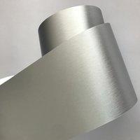 10 cm Genişlik Gümüş Fırçalanmış Metalik Çelik Vinil Wrap Rulo Hava Yayını Teknolojisi ile Yapışkan Araba Sticker Çıkartması Rulo