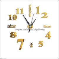 Clocks Décor & Garden3D Large Wall Clock Mirror Big Watch Sticker Home Decor Unique Gift Diy Gold Drop Delivery 2021 Fdbio
