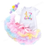 Girl's Dresses 1st Birthday Outfit Baby Girl Romper Tutu Skirt With Headband Girls First Baptism Elegant Embroidery Wedding Party Flower Dre