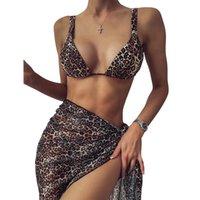 Bikini 2021 Europa y América MS leopardo falda tres piezas traje de baño moda sexy halter traje de baño nuevo estilo al por mayor