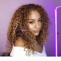 180 dichte afro kinky curly blondine # 27 menschliche haare seide top volle spitze frontperücken für schwarze frauen natürliche hairline