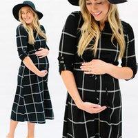 Женщины Платье беременности Фотография реквизит плед принт повседневная кормление середины теленка галстука длинное платье V-образным вырезом полные платья для беременных