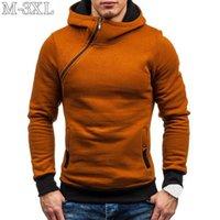 Taille XXXL Sweat à capuche Diagonale Zipper à manches longues Sweatshirts Sweatshirts Hommes Casual Solide Sweat à capuche Sweatwear Sweat-shirt KG-222