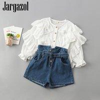 مجموعات الملابس Jargazol سقوط طفل الفتيات مجموعة لوتس ورقة طوق طويلة الأكمام بلوزينيم السراويل الكورية أزياء الاطفال الصغيرة