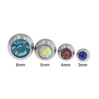 10 stücke Mix Farbe 3 4 5 6mm Edelstahl Piercing Ball 14 / 16g Lippe Augenbraue Zunge Bauch Nabel Ring Körper Schmuck Piercing Teile