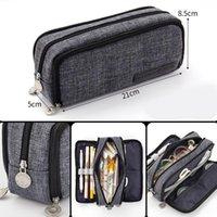 Pencil Bags Large Canvas Pen Pouch 3 Compartments Portable Travel Organizer Bag Makeups For Students Women