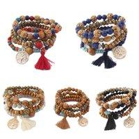 Cuentas, hilos de leña Bohemia encantos elásticos pulseras brazaletes brazaletes perlas de madera pulsera multicapa pulseras mujeres