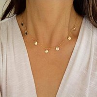 Chokers Minimalist Simple Hammered Round Moon Necklace For Women Charming Fashion Choker Chain Jewelry Accessories Gift Girl Collier