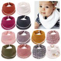 Bebé alimentación babero delantal insomo saliva toalla gasa de encaje algodón pañuelo pañuelo arco iris dot niña