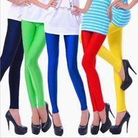 Women's Leggings CHSDCSI Shinny Legging Women Pants Selling Solid Color Fluorescent Spandex Elasticity Gym Fitness Trousers