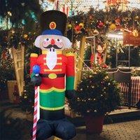 Decorazioni natalizie 2.4 m Schiaccianoci Gonfiabile Gonfiabile LED Light Up Decor Outdoor Decoration Decoration Bambola giocattoli per la casa
