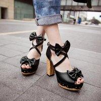 Sandálias Zawsthia Doce meninas verão sapatos bowtie bloco de madeira alto salto alto lolita jk japonês tornozelo cross-strap plataforma mulheres
