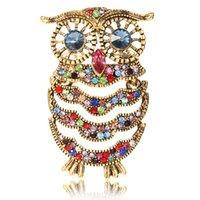Blue Eyes Enamel Pin Rhinestone Owl Brooch Animal Brooches For Women Men Clothes Scarf Buckle Collar Jewelry Pins