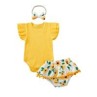 Opperiaya Baby Girls 3PC 세트 유아 립 단단한 컬러 크루 넥 슬리브 Bodysuit 술 해바라기 인쇄 반바지 헤어 밴드