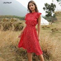 Vestido de gasa Mujeres elegante Verano Floral Impresión con volantes A-Line Sundress Casual ropa ajustada a las rodillas Vestidos rojos para mujeres 210311