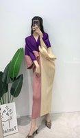 Vestidos casuales 2021 Vestido plisado de verano de primavera para las mujeres sueltas de manga de murciélago de la cintura delgada de la cuello en V largo del cuello en V coreano ropa de diseñador de la estética