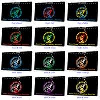 Lx1009 Ваши имена Сварка Сервис Световой знак Двойной Цвет 3D Гравировка