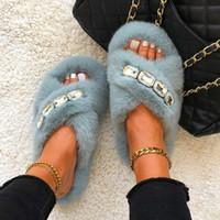 Slippers Women Fluffy Flip Flops Rhinestone Chain Furry Slides Flat Sandals Summer New 2021 Platform Heels Luxury Designer Shoes H0914