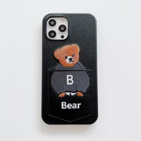 Shockproof Cute Cartoon Bears Design Pu Leather Slot Mobile Phone Cases For iPhone 13 Pro Max Mini Anti-drop Card Pocket Water Resistant Cell Back Cover