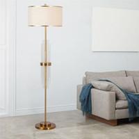 Nordic Modern Rame Lampade di cristallo di lusso in cristallo in piedi soggiorno camera da letto comodino in tessuto Studio Studio E27 Floor Light Fixtures