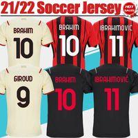 # 11 Ibrahimovic # 9 Giroud Home Vermelho Preto Jersey 2021/2022 # 10 Brahim # 19 Theo Away Soccer Shirt 21/22 # 13 Romagnoli 3rd Futebol Uniformes