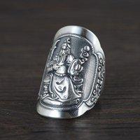 Cluster ringar D 925 Sterling Silver Vintage Ring för män Wide-Faced Guan Gong Snided Broadsword Öppna Retro Fine Smycken