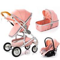 Designer de luxo carrinho carregado bebê dobrável s 3 em 1 trole multifuncional caminhante alta paisagem portátil transporte portátil