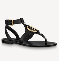 Sandali in pelle da donna Anello in metallo Gold-Tone Gold-Tone Faro Summer Designer Lady Strap Strap Fibbia Piatta in gomma Suola Sandal Sandal 35-42