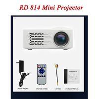 스마트 디지털 LCD LED 오버 헤드 RD814 1080P 풀 HD 비디오 휴대용 400 루멘 홈 시어터 영화 비디오 플레이어 미니 프로젝터 지원 TF 카드