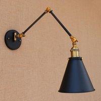 Moderno nero industriale regolabile braccio lungo vintage lampada da parete da interno E27 luci per home hallway camera da letto sala da pranzo bar cafe