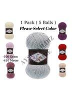 Thread 1 Pack (5 Bolas) Alize Sal Abiye Fio De Tricô (% 5 Payet% 5 Tinsel% 10 Poliéster% 80 Acrílico) Kit de Ferramentas de Crochê)