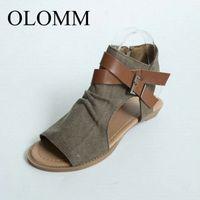 OLOMM 2020 Sandales d'été pour femmes Toile Open Toe Chaussures avec des chaussures de plage à bout ouvert Dhgat v4fh #