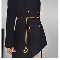 Frauen Gold Ketten Gürtel Mode Designer Gürtel Link Luxus Taille Kette Womens Metall Legierung Kleid Zubehör Bund Gürtel Gürtel
